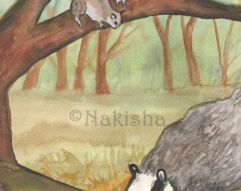 Original Art - The Seven of Badgers - Watercolor Badger Painting -The Badgers Forest Tarot