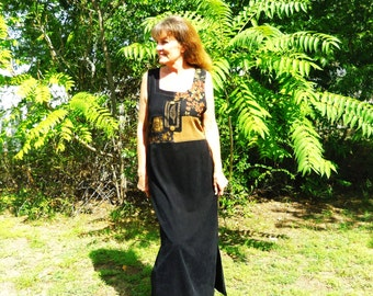 FREE Shipping!  Vintage 80's Soft Maxi Dress ~ Rich Earth Colors Silkscreen Accents ~ Brown/Black Medium/Large~EARTH FLOWERS