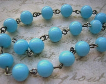 VIntage beaded rosary chain Japanese glass turquoise blue round beads brass links  8mm glass beads (1 foot)