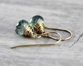 Green Drop Earrings, Quartz Gemstone Earrings, Gold Fill Earrings, Wire Wrap Earrings, Dangle Earrings, Dark Green Earrings, Beaded Earrings