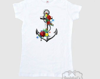 Anchor Shirt Women's Floral Shabby Tee Adult Size XS S M L Xl 2Xl