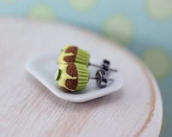 Lemon Lime Cupcake - Studs / Post Earrings