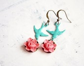 Tropical Birds Earrings, Romantic, Shabby Chic Colorful Jewelry