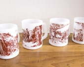 Vintage Milk Glass Mugs 'Canadian Historical Explorer' Coffee Cups  Set of 4