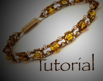 Seed Bead and Pyramid Stud Bracelet Pattern Forever Amber Digital Download