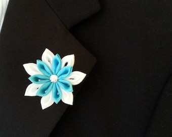 Turquiose Teal Star Brooch -- Fabric Flower Lapel Pin - SALE