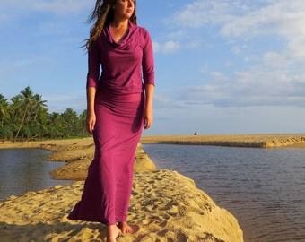 ORGANIC Vagabond Long Dress ( light hemp and organic cotton knit ) - organic dress
