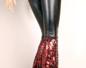 Snake Goddess Pants, Belly Dance sexy Black Red wide leg, Crude Things Mermaid Pants, Dark Fantasy scales Vampire