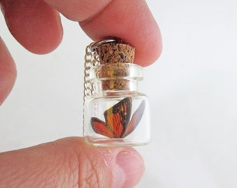 Tiny Monarch Butterfly Bottle Necklace