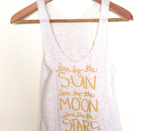 Shine Like the Stars. Yoga Tank Top with Gold Ink. Yoga Clothing, Yoga Girl MADE TO ORDER
