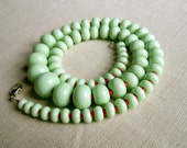 Mint and red graduated artisan lampwork glass bead necklace