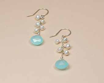 Blue Chalcedony Earring, Beach Wedding Jewelry,  Aqua Chalcedony, Freshwater Pearl,  Long Earring, Beachy Bridal, Bridesmaid Gift