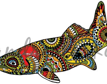 Brown Trout Zentangle 3M Laminated 3M Decal