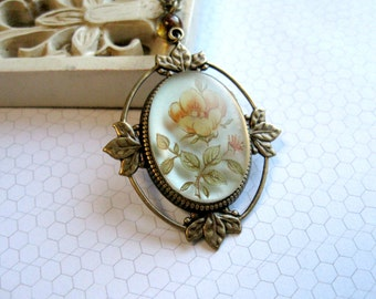 Vintage style yellow rose necklace, pendant, brass setting, cottage chic, nature, woodland
