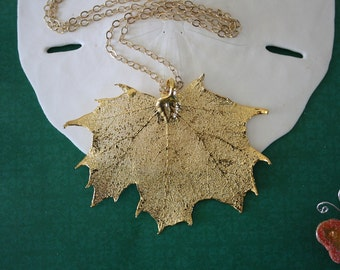 Gold Leaf Necklace, Real Leaf Necklace, Maple Leaf, Gold Maple Leaf, Sugar Maple Leaf 14 LC