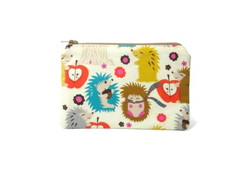 Hedgehog Autumn Zippered Pouch / Zipper Bag with Colorful Hedgehogs in Scarves