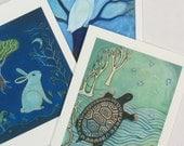 Card Set, Forest Folk, owl, turtle, rabbit