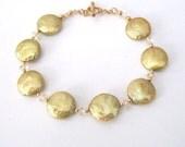 Coin Pearl Bracelet, Chartreuse Freshwater Pearls, Citrine Gemstone, Goldfilled Bracelet