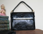 Vintage 1960s Black Purse Textured Vinyl with Gold Details - unused Vintage Handbag
