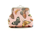 Butterfly Dusty Pink Cotton Purse - Size Small - Ready To Ship