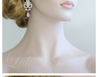 Crystal Wedding Earrings Chandelier Earrings Silver Art Deco Bridal Earrings Swarovski Vintage Wedding Jewelry NICA