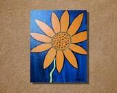 """Acrylic Painting Orange Flower on Blue Background Original 11"""" x 14"""""""
