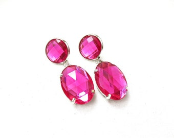 Bright Pink Acrylic Rhinestone Drop Earrings, Simple Pink Acrylic Rhinestone Earrings, Bright Pink Rhinestone Dangle Earrings