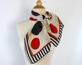 Vintage silk scarf Echo silk scarf Polka dot silk scarf Red White and Blue silk scarf Large square silk scarf Dots Stripes Circles scarf