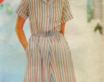 1980s Butterick 3802 Vintage Sewing Pattern Misses Short Sleeve Shirtwaist Dress Size A (8-10-12), Size B (14-16-18)