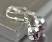 Amethyst Swarovski crystal earrings, February Birthstone