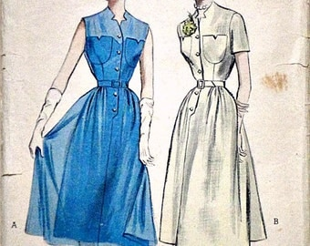 Vintage 50's Butterick 5676 Sewing Pattern, Quick & Easy Casual Dress, Size 16, 34 Bust
