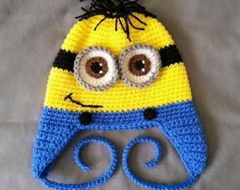 Crocheted Hat Yellow Monster Little Guy Goggles - Baby, Toddler, Child, Teen and Adults