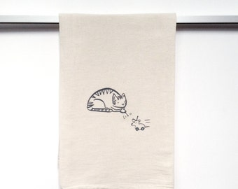 Flour Sack Cotton Dish Towel - Cat in charcoal grey ink - tea towel