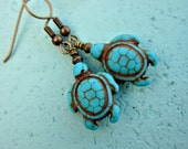 Turquoise Dyed Howlite Turtles on Rustic Brass Dangle Earrings: Inlet