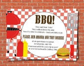 BBQ party invitation, printable BBQ party invitation, football party, tailgate party invitation, couples shower invitation, digital invite