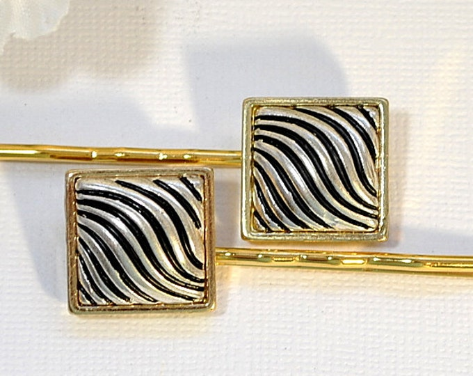 Silver Black Bobby Pin, Zebra Stripe Pin, Beaded Bobbies, Bobby Pins for Women, Hair Accessory