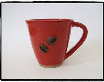 Beautiful Red Coffee Mug with Coffee Bean Decoration by misunrie