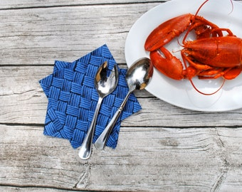 Nautical Napkins Set of 4 in Blue Rope- Cloth Napkins, Beach Napkins, Picnic Napkins, Eco Friendly, Summer