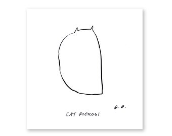 Cat Pierogi- Ink Drawing- Cat Art- The Dancing Cat