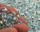 15 Gram Light Green Rainbow Long Magatama Beads, Green Lined Light Seafoam AB # 263, Sea Foam Sage 4x7mm Glass Kumihimo Beads