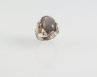 Frosted Moonstone Ring - in silver & 18K gold