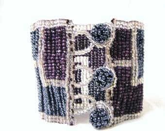 Vintage Purple Blueberry Beaded Cuff Bracelet