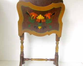 Vintage Wooden Magazine Stand Arts and Crafts Storage Rack Painted Design