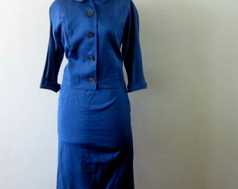 Vintage Suit Pencil Skirt 60s Jackie Kennedy Style 1960s Periwinkle Blue 2 Pc Suit
