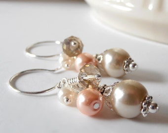 Ivory Beige and Peach Bead Cluster Earrings, Pearl and Crystal Beaded Dangles, Matching Bridesmaid Jewelry Sets, Custom Colors Available