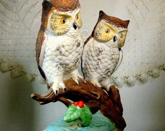 2 OWLS Painted Porcelain Vintage Figurine, 1970s  Brown White and Yellow Matte Glazed Ceramic