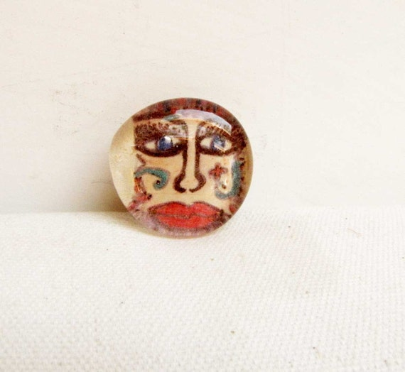 Glass Marble Art Magnet Artist Made Face Magnet Refrigerator Office Magnet Red Art Face Home Decor Handmade # M 11