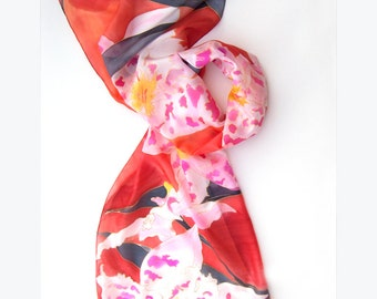 Hand Painted Silk Scarf- Bright Red Silk Shawl- Orchids Silk Scarf- PAinted scarf- Large Silk Scarf- pink red Floral handpainted scarf ooak