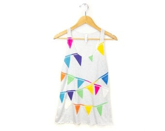 Triangle Bunting Tank- Racerback Scoop Neck Long Swing Tank Top in Ash Grey and Multi Rainbow - Women's Size XS-2XL