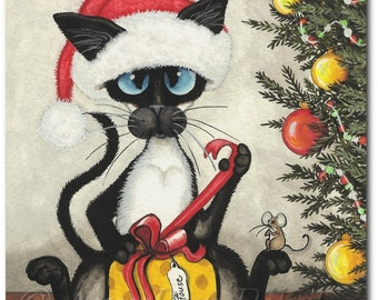 Siamese Cat Christmas Gift TO Mouse - Art Prints by Bihrle ck318